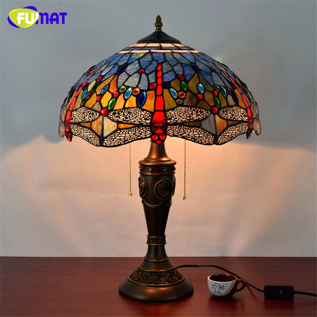 Fumat American Art Vintage Table Lamp European Blue Dragonfly Gl Deco Lights Hotel Bedside