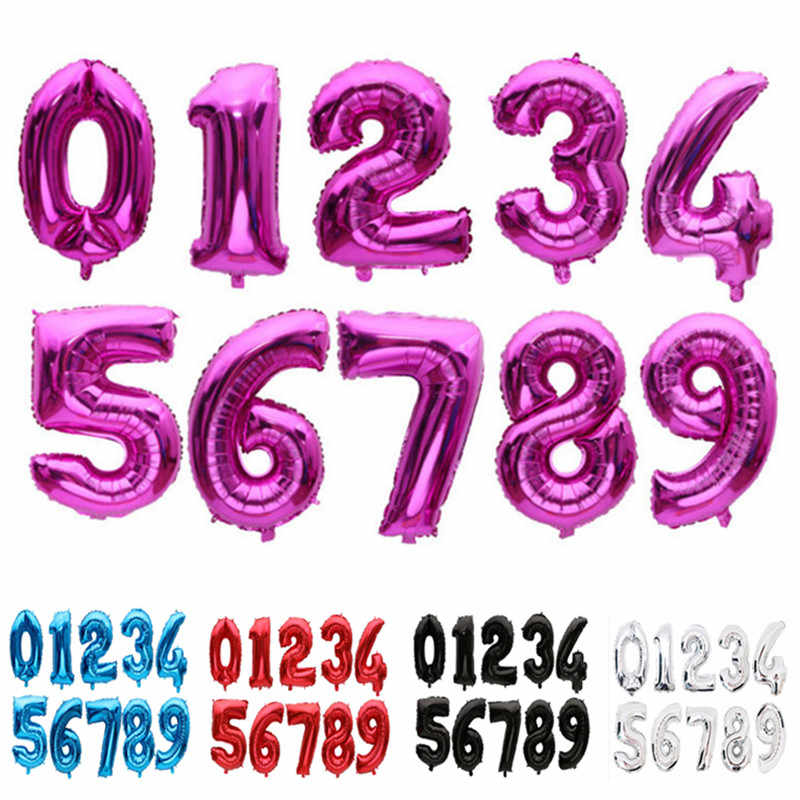 """32 インチ 40 """"ローズゴールド箔番号バルーン誕生日パーティーの装飾キッドエアーボールウェディング図バルーンハッピーバースデーバルーン"""