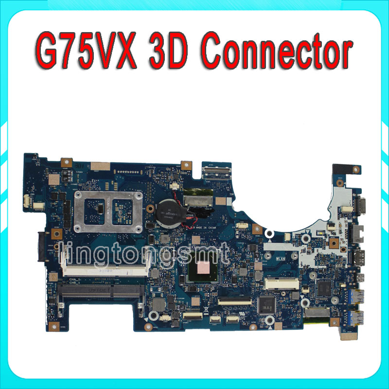 for ASUS G75VX laptop motherboard main board with 3D Connector Support  GT670MX with 3GB GDDR5 VRAM LCD Connector fully tested 100% tested for washing machines board xqsb50 0528 xqsb52 528 xqsb55 0528 0034000808d motherboard on sale