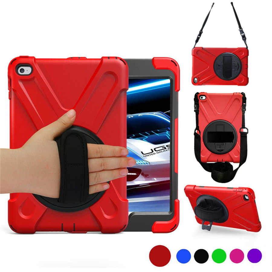 Case for Apple iPad mini 4 7.9 inch 3-layers Rugged PC+Silicone hard Cover w/360 Swivel Stand holder, Hand Strap & Neck Strap