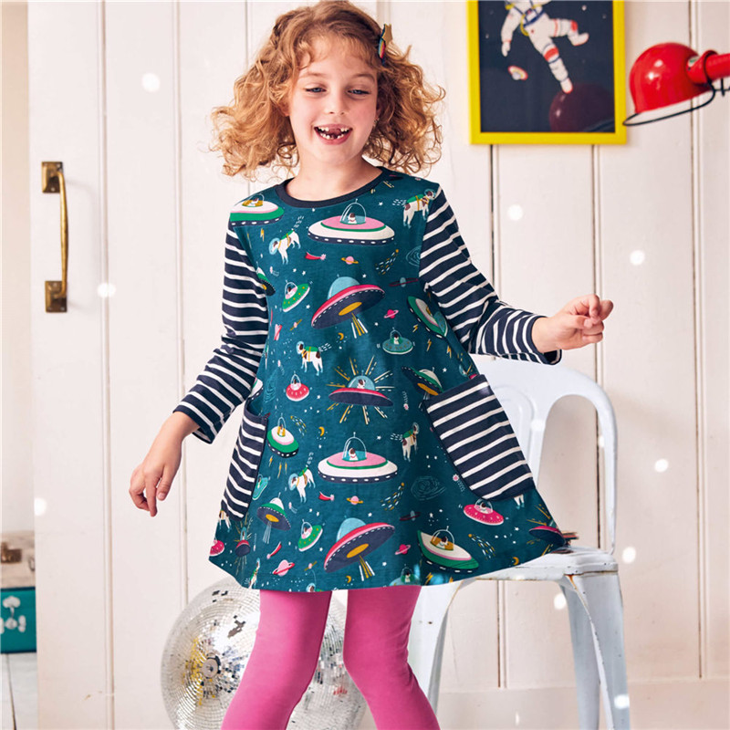 Jumping meters Baby Girls Dresses Long Sleeves space Cartoon Cotton Dress for Baby Girl Pocket Spring Autumn Clothes Girls Dress girl