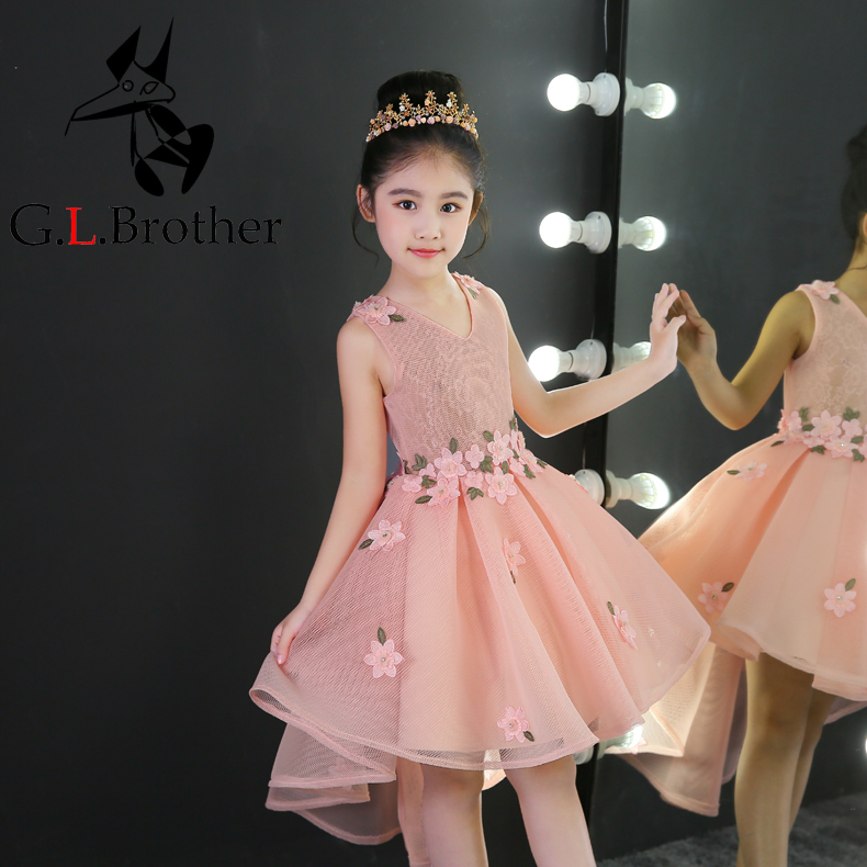 V-neck Flower Girl Dresses Floral Ball Gown Kids Pageant Dress Birthday Party Gowns Short Front Long Back Princess Prom Dress B tiny floral back slit pencil dress