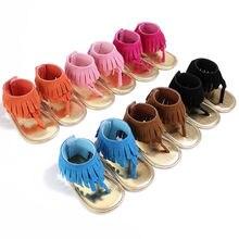 Летние сандалии для новорожденных мальчиков и девочек; обувь с кисточками; сабо на мягкой подошве для младенцев; для маленьких девочек от 0 до 18 месяцев