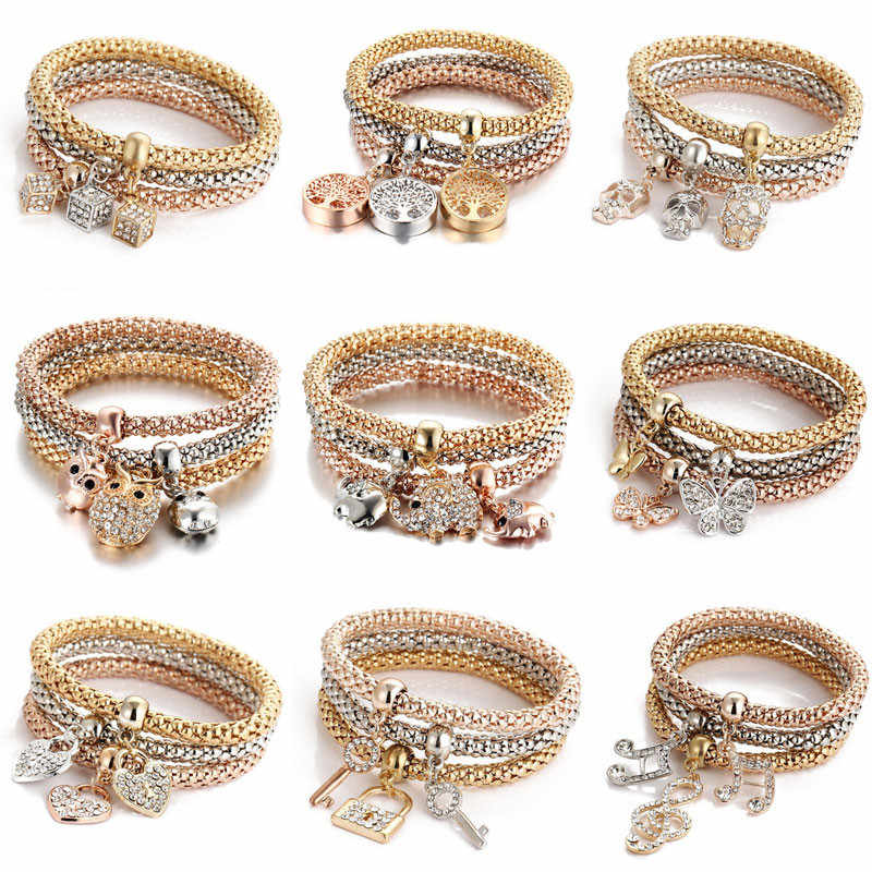 Modyle New Fashion Jewelry Crystal Heart Bracelet & Bangles Popcorn Chain Friendship Wedding Bracelets for Woman Gift