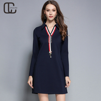 2017 Autumn Winter Women S Ribbon Elegant Dresses Plus Size Casual OL Long Sleeves For Ladies