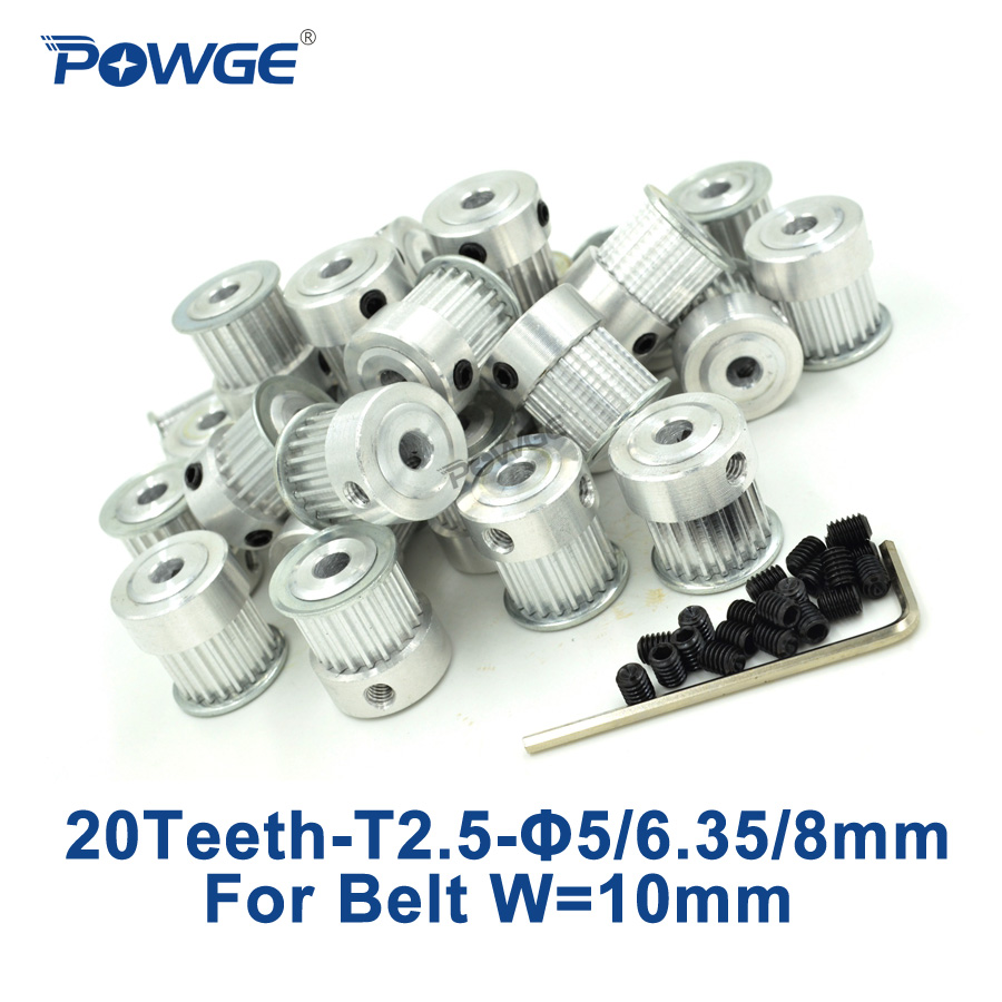 POWGE 50pcs 20 Teeth T2 5 Synchronous pulley bore 5mm 6mm 6 35mm 8mm For width