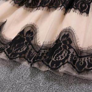 Женское Сетчатое платье феи с вышивкой и длинными рукавами, Сетчатое Пышное Платье с круглым вырезом, весна-осень 2019