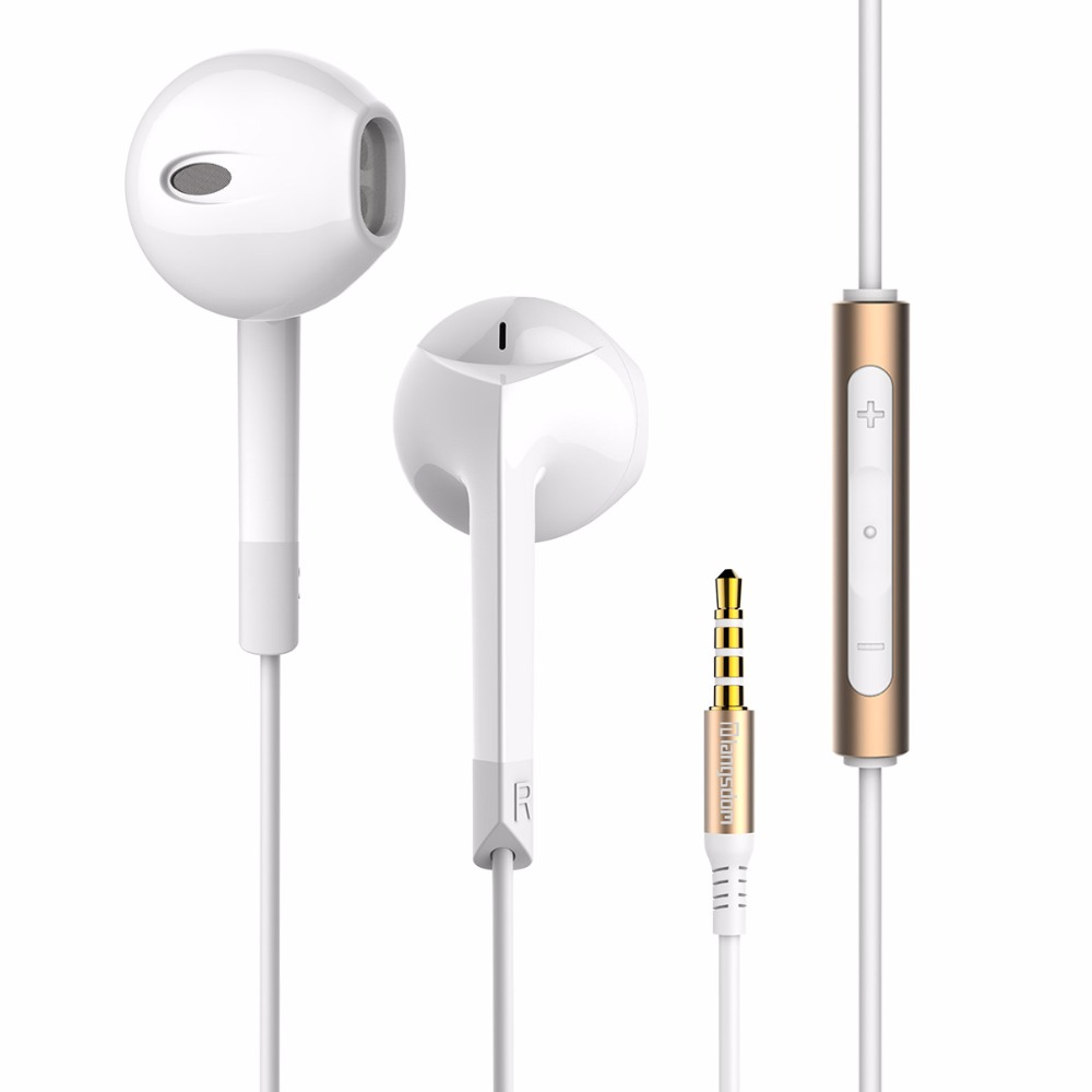 Original Langsdom E6 Half In-ear Stereo Bass Earphone Headset with Microphone In-Line Contro Earphones for Xiaomi iPhone Samsung 1more e1001 triple driver in ear earphone with in line microphone and remote for ios iphone xiaomi samsung
