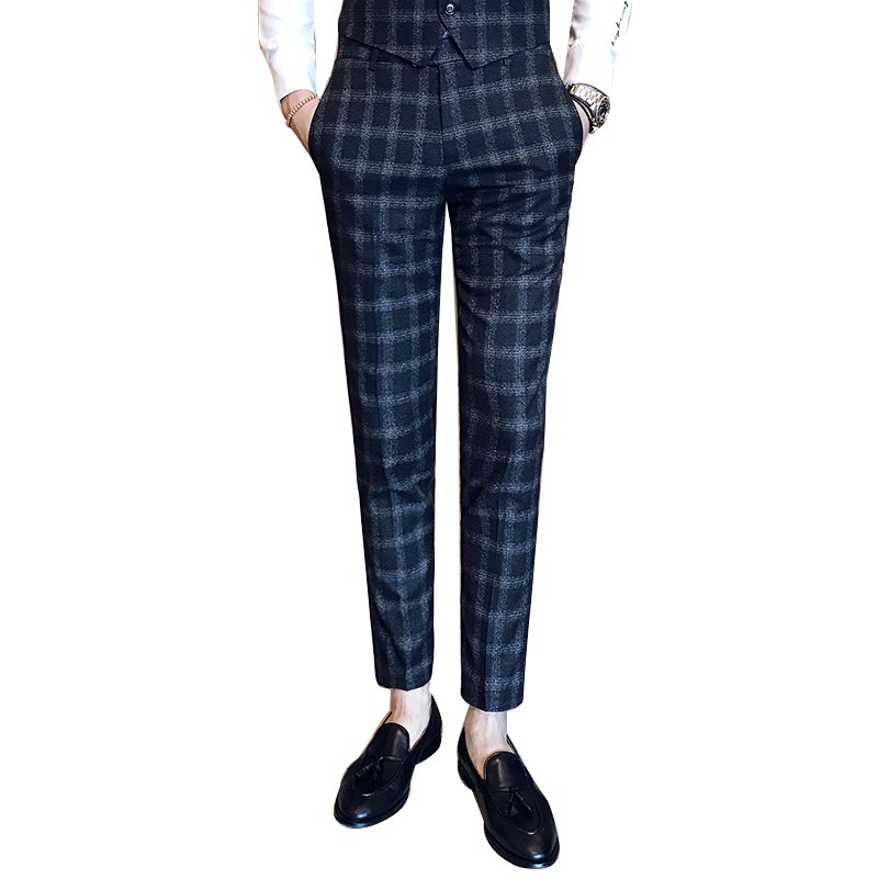2018 spring plaid business pants suits men check trousers. Black Bedroom Furniture Sets. Home Design Ideas