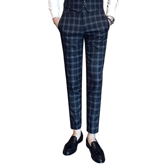 2018 Spring Plaid Business Pants Suits Men Check Trousers