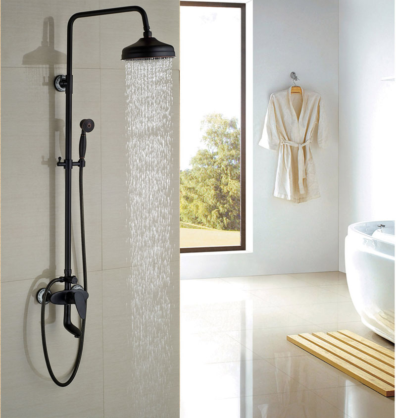 Contemporary 8 Shower Faucet W/Hand Shower Round Shower Hot&Cold Faucet