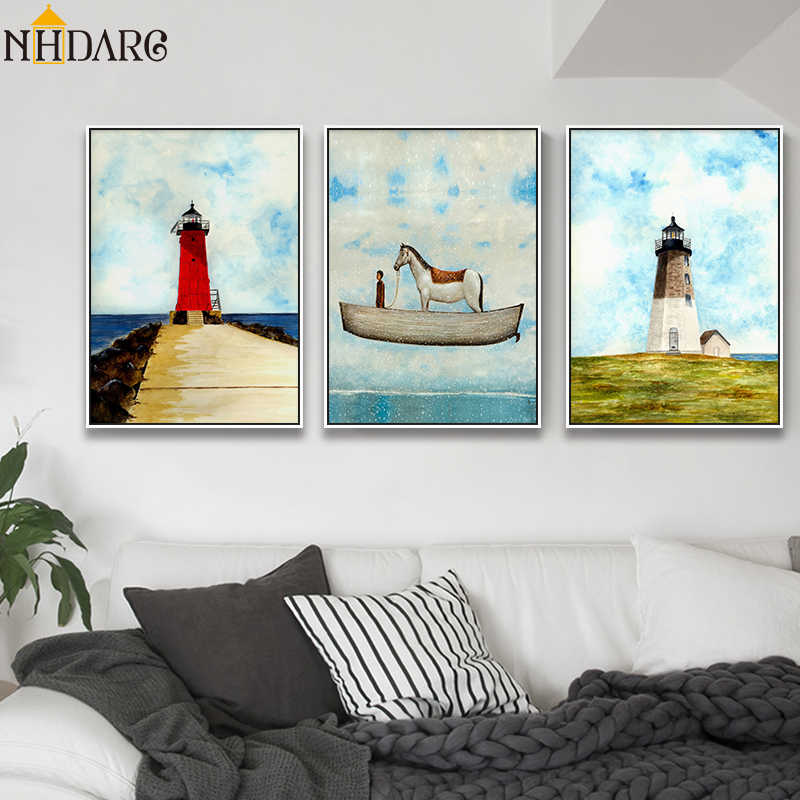 Nordic Scenery Eternal Beacon Posters and Prints Canvas Art Painting Wall Pictures for Living Room Modern Surrealism Home Decor