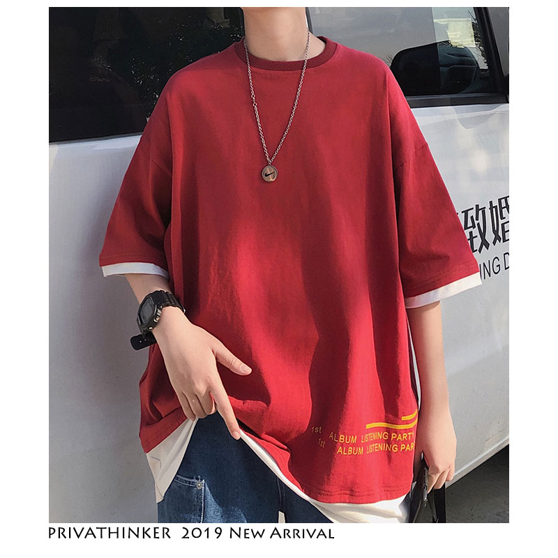 Privathinker Men Harajuku Korean   T     Shirt   2019 Summer Casual Mens Streetwear   T     Shirts   Hip Hop Print Male Short Sleeve Tshirt