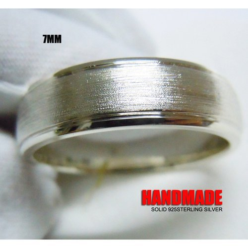 Mens 7mm Solid 925 Sterling Silver Plain Band Ring mens solid 925 sterling silver 8mm rope ring