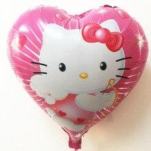 Детские игрушки воздушный шар гелием шар фольги сердца розовый KT кошка шаблон розовый красный в форме сердца
