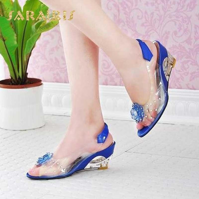 SaraIris large size 30-43 Fashion Summer Rhinestone Flower wedge High Heels  Casual Jelly Shoes 50a7c7dcf39a