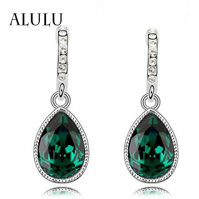 2015 New Fashion Austria Water Drop Silver Plated Earring Green Main Color For Women Luxury Austrian Crystal Water Drop Earrings