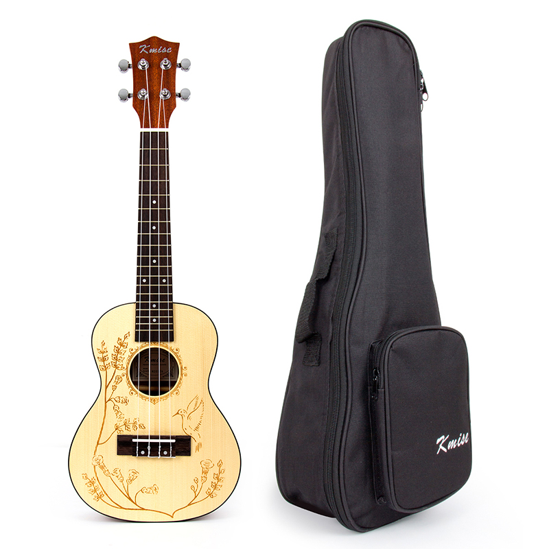 Kmise Concert Ukulele Solid Spruce Ukelele Uke 4 String Hawaii Guitar 23 inch 18 Frets with Gig Bag kmise soprano ukulele spruce 21 inch ukelele uke acoustic 4 string hawaii guitar 12 frets with gig bag