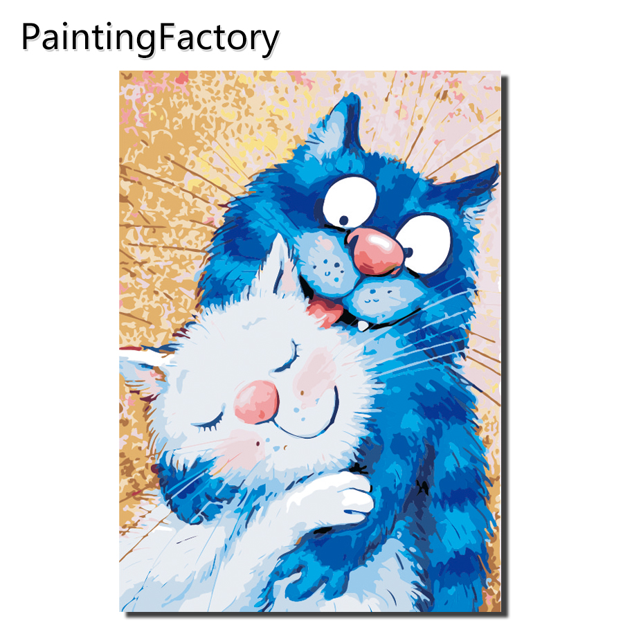 Framed Blue White Cat Love Painting By Numbers Home Decoration For Living Room Wall Art Europe Abstract Canvas Color Art