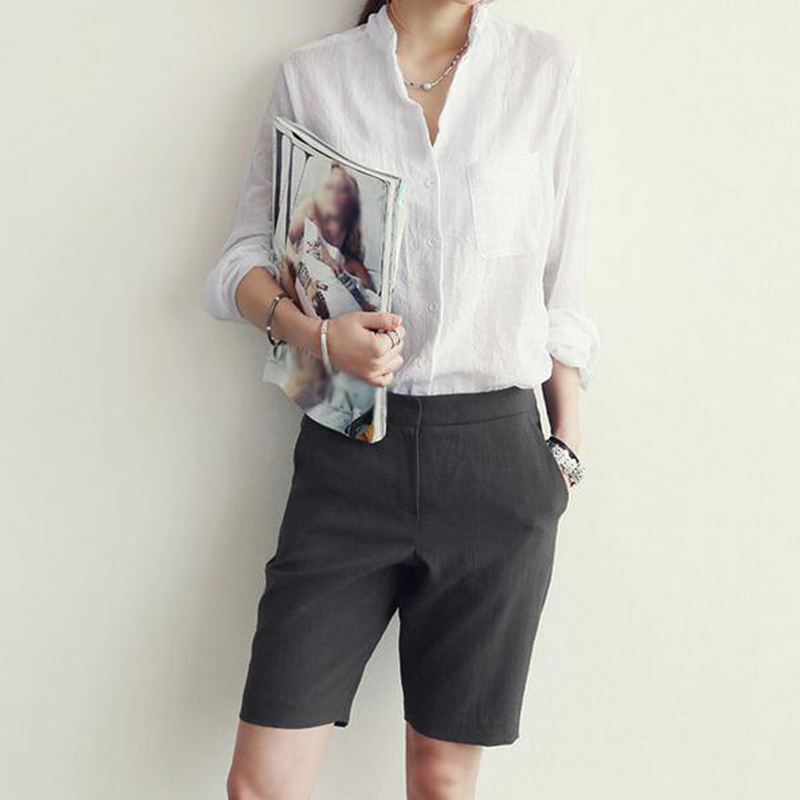 Women blouse 2018 summer autumn Cotton Linen Long Sleeve Shirt Casual Loose Button Down Tops