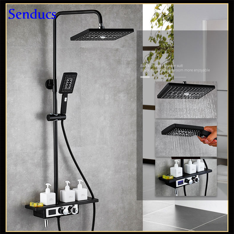 Senducs Black Thermostatic Bathroom Shower Set European Digital Bath Shower System with Quality Brass Black Shower