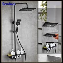 Senducs черный термостатический душевой набор для ванной комнаты Европейская цифровая Душевая система с качественным латунным черным душевым комплектом