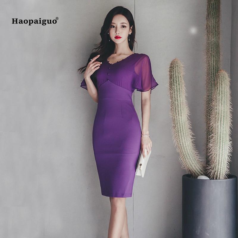 Plus Size Bodycon Pencil Dress Women Summer Purple V neck Short Sleeve Office Elegant Knee Length Dress for Women Party Dresses