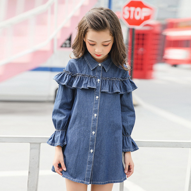 Childrens Garment Clothing New Pattern Girl Dress Long Sleeve Round Neck Lapel Leisure Time Cowboy ChildChildrens Garment Clothing New Pattern Girl Dress Long Sleeve Round Neck Lapel Leisure Time Cowboy Child