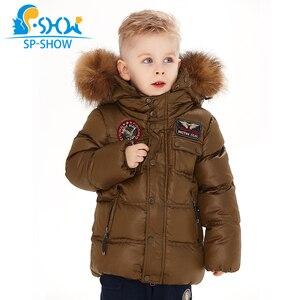 Image 1 - 2019 SP SHOW Çocuklar Kış Erkek Ve Kız Marka Kapüşonlu Ceket Rüzgar Geçirmez Siut Kalın Sıcak Polar Ceket + Pantolon Iki parça 04
