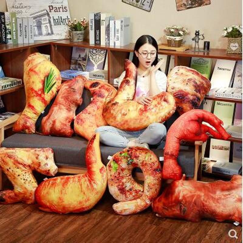 2018 August New Hot 3D Simulation BBQ Pillow Chicken Wing Leg Shrimp Fish Squid Plush Toy 5pcs/pack 20cm Wholesale
