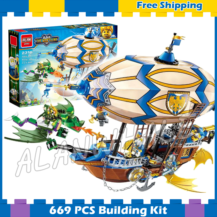 669pcs The War Human VS Elves Goblin Zeppelin Flying Gifts set Dragon Archer Model Building Blocks Kit Game Compatible with lego