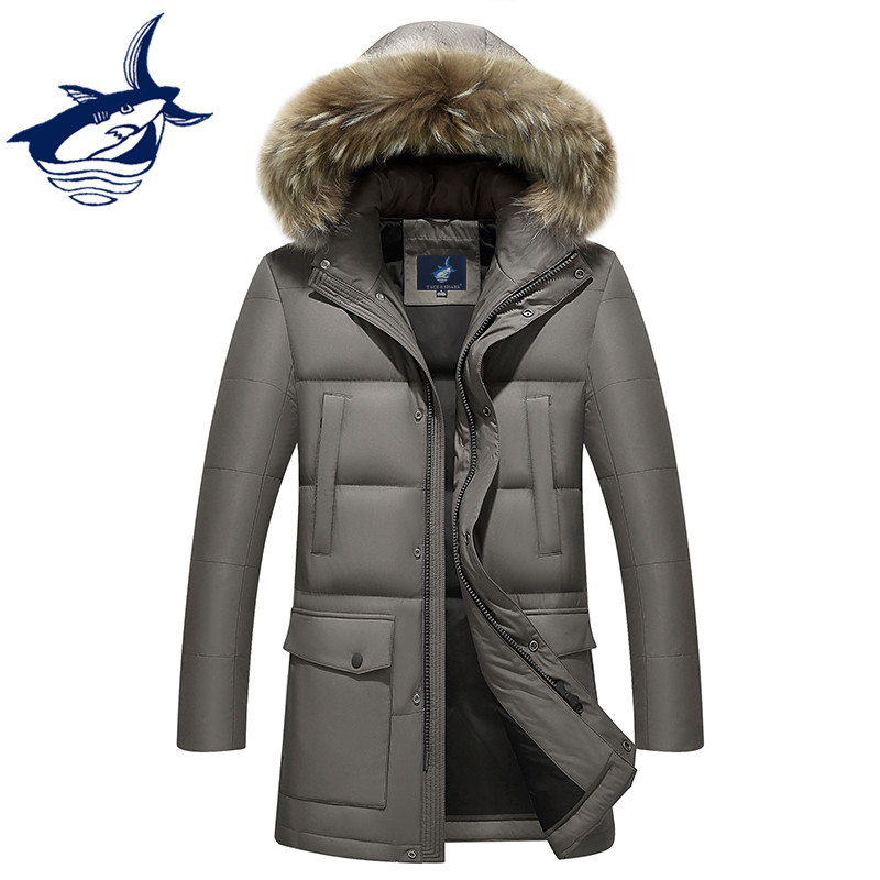 Tace & Shark Brand Russia Winter Jacket Men Fur Hood Removable White Duck Down Jacket coat masculine Plus Size 4XL -30 Degree