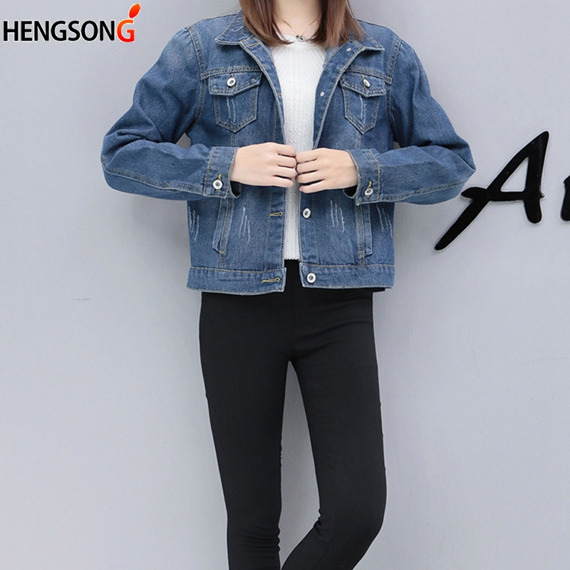 Women Basic Coat Denim Jacket Autumn Denim Jacket Women Coat Loose Fit Casual Style Slim Plus Size Veste Femme
