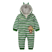 new 2017 autumn winter kids jumpsuits newborn baby clothes infant hooded cotton Rompers baby boys striped monkey coveralls