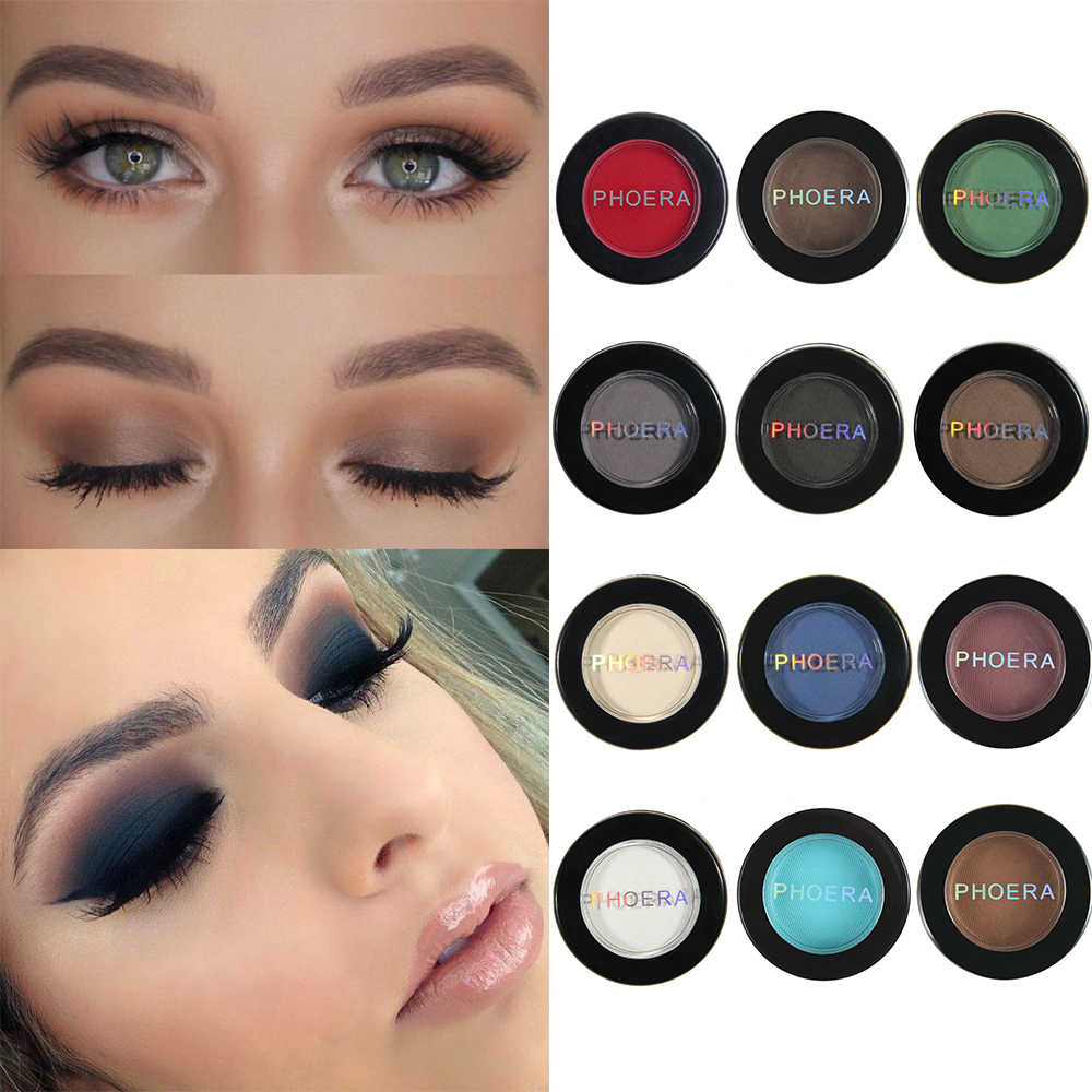 Phoera 1 PC 12 Warna Natural Matte Eye Shadow Palet Tahan Air Pigmen Single Glitter Eyeshadow Pallet Kosmetik Makeup TSLM2