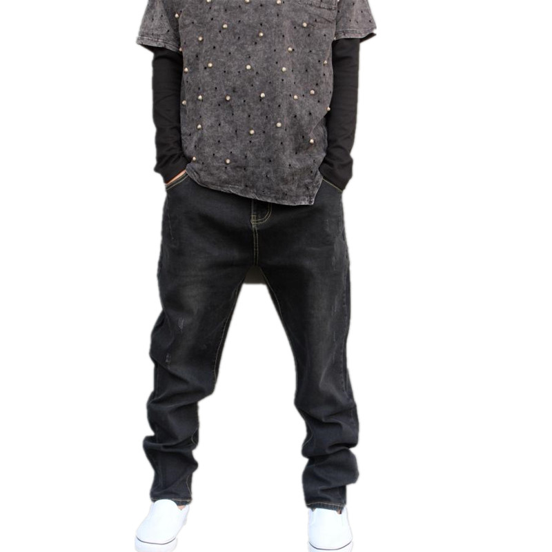 Plus Size M-6XL 44 Mens Distressed Jeans Ripped Stretch Denim Black Grey Jeans Loose Fit Slim Bottom Fashion Cross Pants 3320 mens sports pants bloomers black size xl