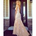 Vestido de festa longo Champagne longo sereia Lace applique vestidos longo Prom vestidos vestidos