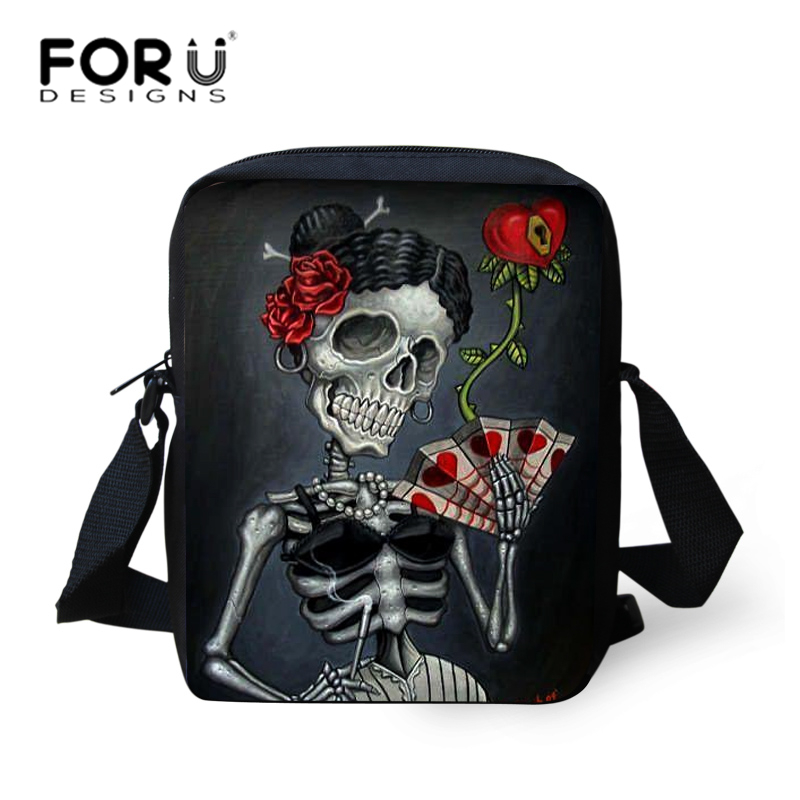 FORUDESIGNS Punk Style Women Messenger Bags Kids Girls Boys Cross Body Bags Cool Skull Bag Small Children Mini Bag Bolsas
