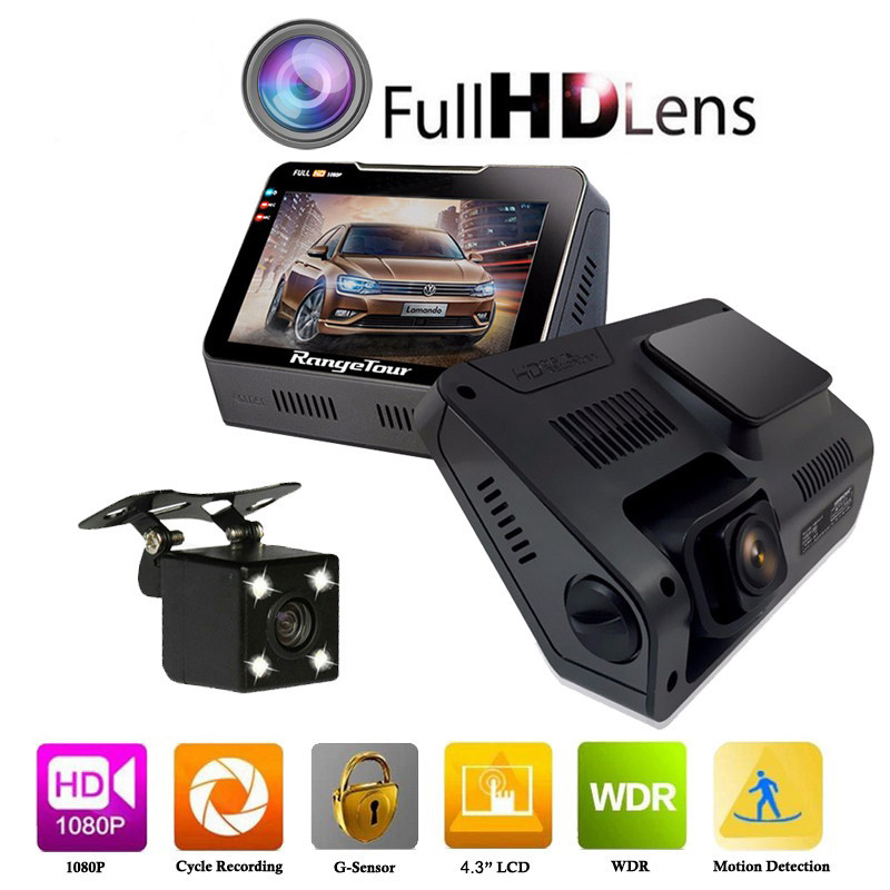 B90s Plus Car Camera DVR Dual Lens Dashboard Full HD 1080P 170 Degree 4 3 LCD