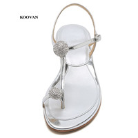 Koovan Women's Sandals 2018 New Summer Rhinestone Ball Toe Shoes With Low heeled Sandals Flat Bottom For Girls Beach Shoes