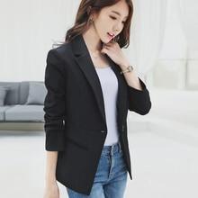 Womens small suit 2019 new autumn ladies casual elegant black long-sleeved Slim professional jacket
