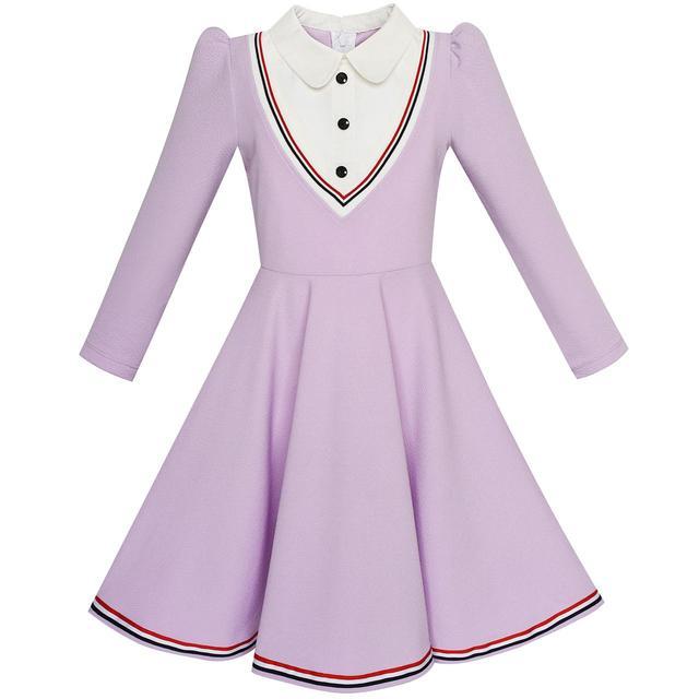 b00d7a0e33 Sunny Fashion Girls Dress School Uniform White Collar Purple Long Sleeve  Striped 2018 Summer Princess Wedding Party Size 4-12