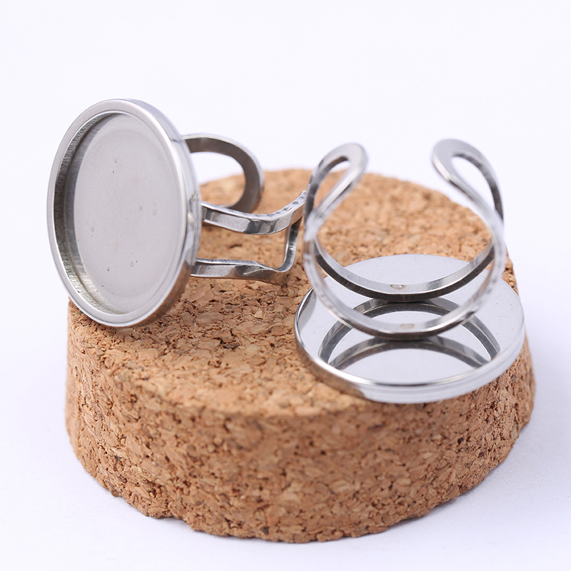 Onwear 5pcs Stainless Steel Ring Blanks 20mm Round Glass Cabochon Base Settings Diy Bezel Trays For Jewelry Making