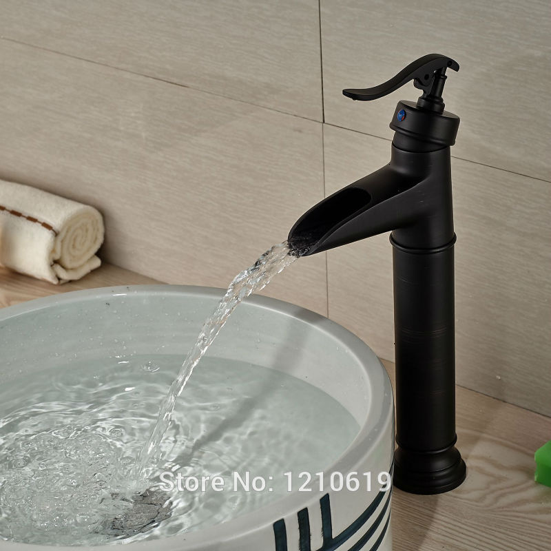 Newly Oil Rubbed Bronze Basin Faucet Vessel Mixer Tap Single Handle Waterfall Sink