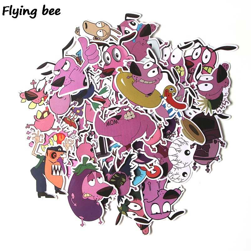 Flyingbee 38 Pcs COURAGE The Cowardly Dog PVC stickers Scrapbooking for phone luggage laptop bicycle guitar Sticker Decal X0283