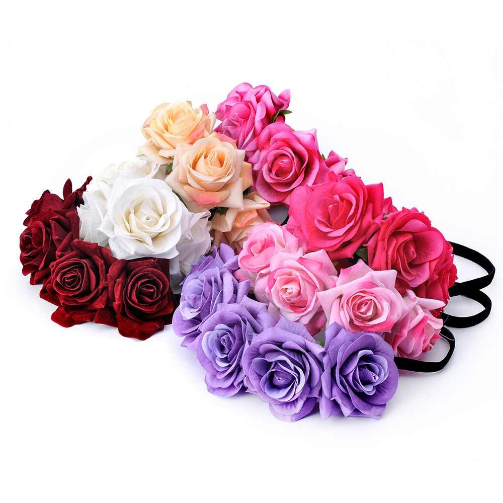 Cinta para la cabeza estilo bohemio Okdeals 1 pieza cinta para la cabeza con Rosa corona Floral diadema guirnalda para el pelo de la boda accesorios para el cabello para niñas