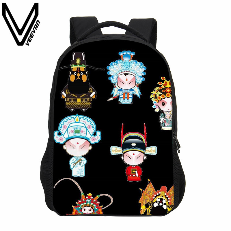 VEEVANV Casual Children Bookbag Fashion Mochila Cartoon Printing Backpack Beijing Opera Image Shoulder Bag Girls School Backpack veevanv brand school backpacks children shoulder bags dragon pattern printing backpack fashion mochila boys casual daily bag new
