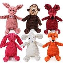 16 животных Собака Жевательная пищалка игрушки жираф флисовая веревка интерактивная игрушка плюшевый щенок олень для домашних собак кошка Жевательная пищащая игрушка