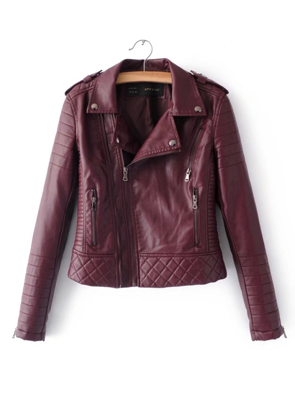 Longues Automne Et Zipper Veste D'hiver 2018 Nouvelle Vestes Cuir Revers Marque Manches Survêtement En Moto pink red Black Mode white qOzwz7t