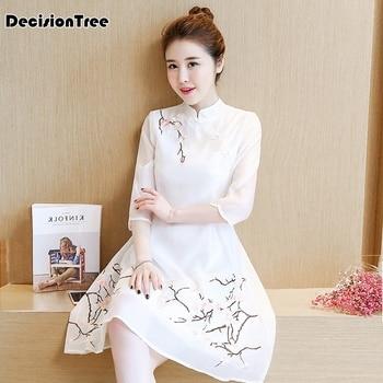 c1ba813c01db Blusa tradicional china tops para mujer cuello mandarín camisa de ...